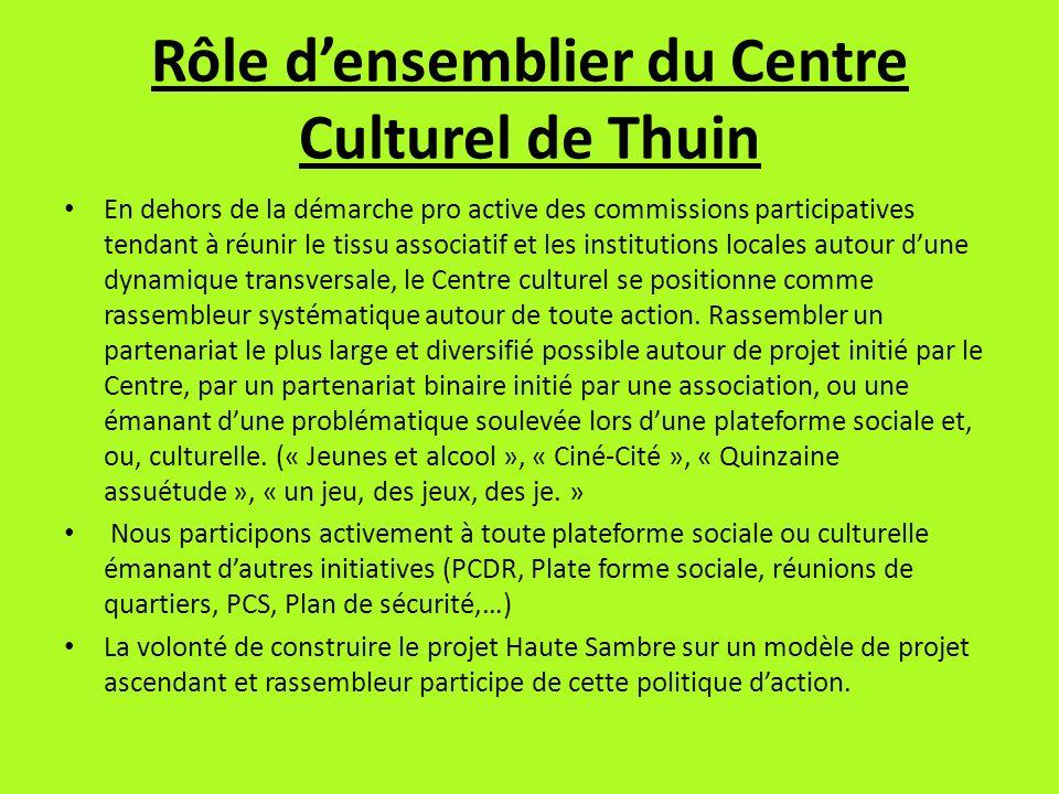 Rôle densemblier du Centre Culturel de Thuin En dehors de la démarche pro active des commissions participatives tendant à réunir le tissu associatif e