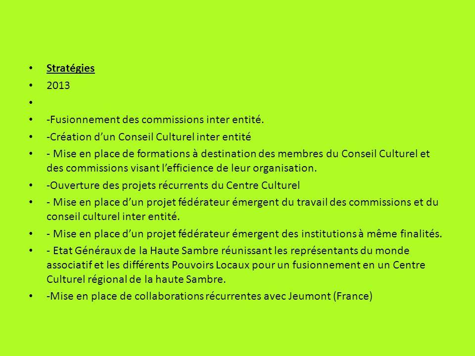 Stratégies 2013 -Fusionnement des commissions inter entité. -Création dun Conseil Culturel inter entité - Mise en place de formations à destination de