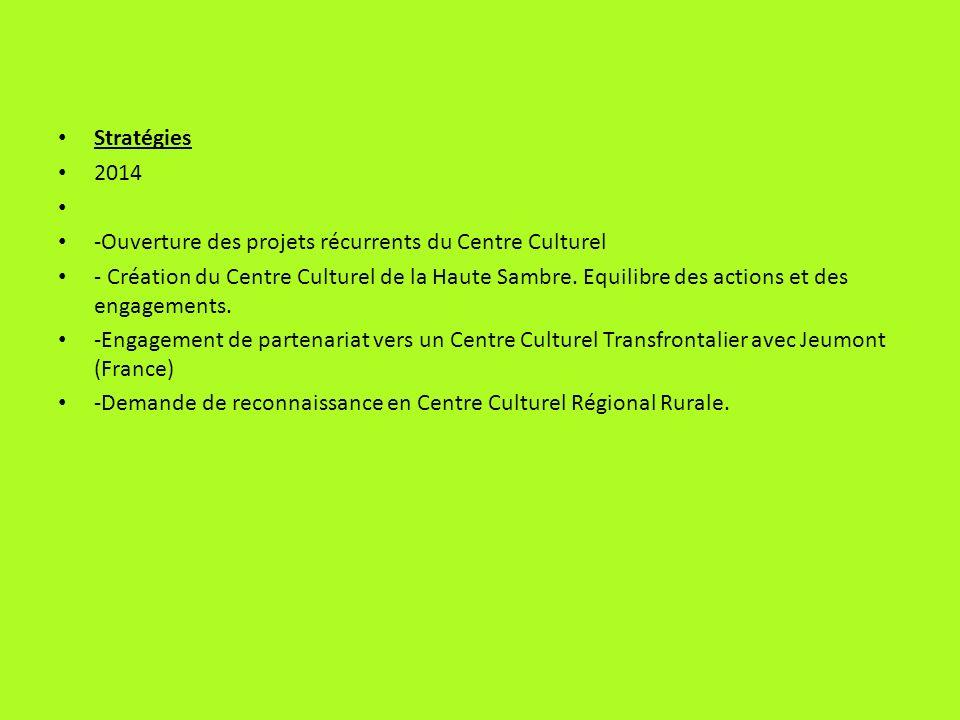 Stratégies 2014 -Ouverture des projets récurrents du Centre Culturel - Création du Centre Culturel de la Haute Sambre. Equilibre des actions et des en