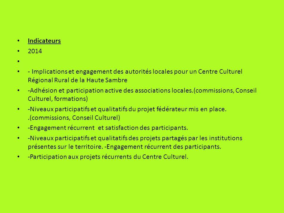 Indicateurs 2014 - Implications et engagement des autorités locales pour un Centre Culturel Régional Rural de la Haute Sambre -Adhésion et participati