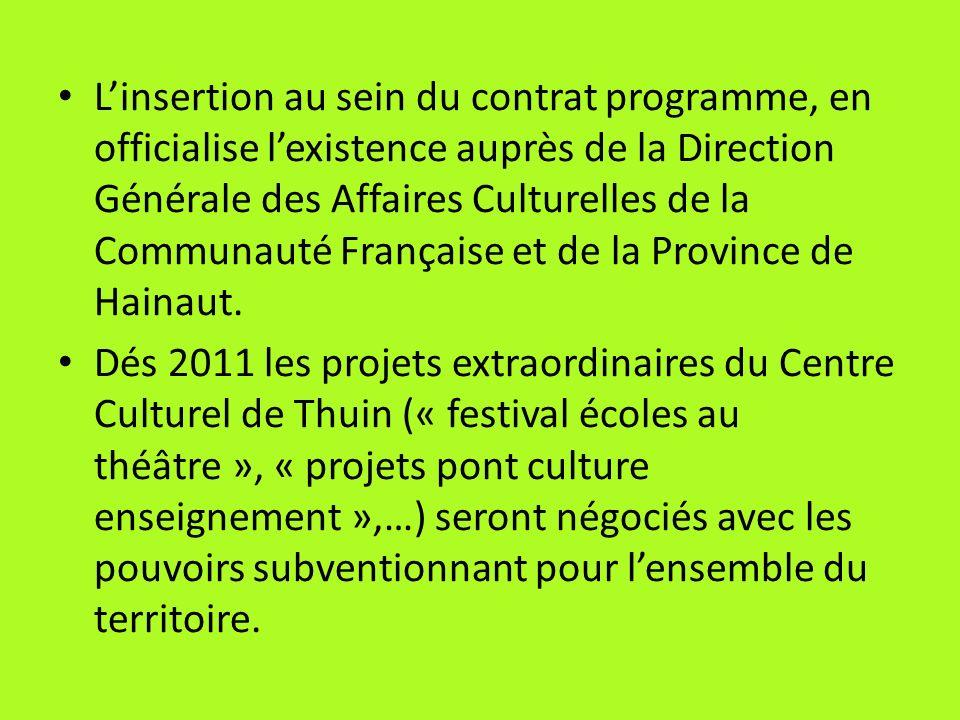 Linsertion au sein du contrat programme, en officialise lexistence auprès de la Direction Générale des Affaires Culturelles de la Communauté Française