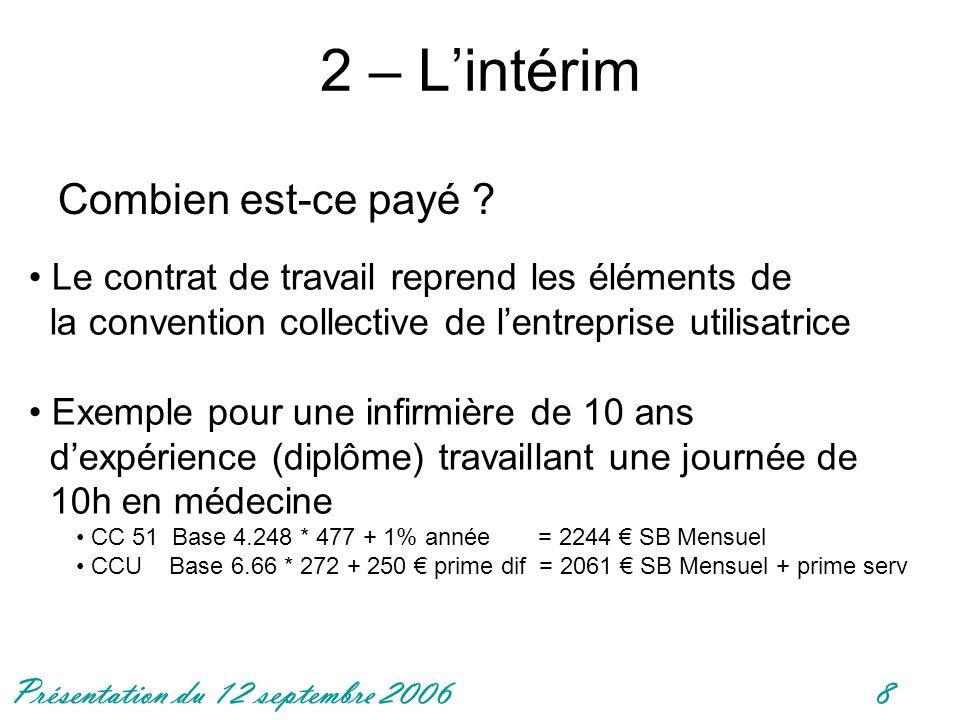 Présentation du 12 septembre 20068 2 – Lintérim Combien est-ce payé ? Le contrat de travail reprend les éléments de la convention collective de lentre