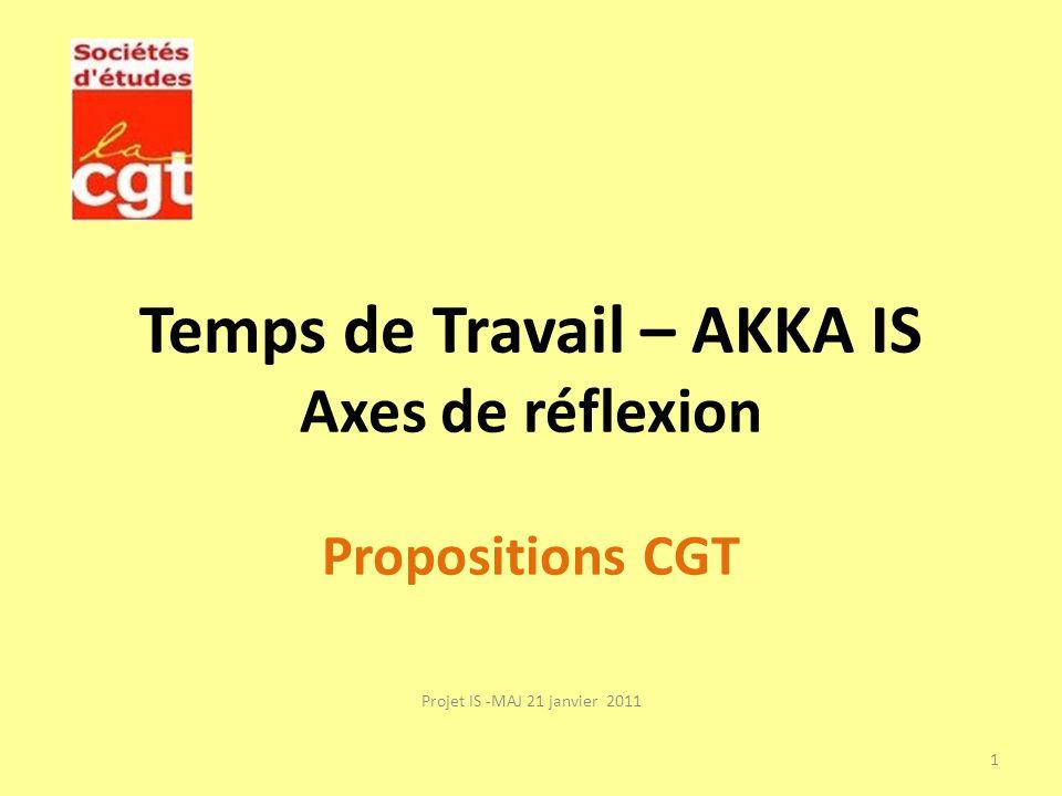 Temps de Travail – AKKA IS Axes de réflexion Propositions CGT Projet IS -MAJ 21 janvier 2011 1