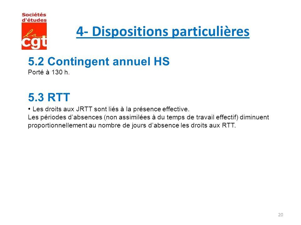 20 4- Dispositions particulières 5.2 Contingent annuel HS Porté à 130 h. 5.3 RTT Les droits aux JRTT sont liés à la présence effective. Les périodes d