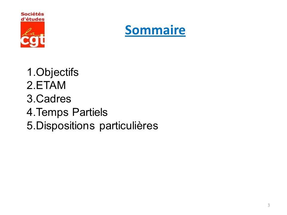 3 Sommaire 1.Objectifs 2.ETAM 3.Cadres 4.Temps Partiels 5.Dispositions particulières