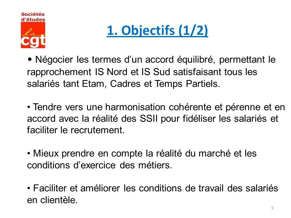 5 1. Objectifs (1/2) Négocier les termes dun accord équilibré, permettant le rapprochement IS Nord et IS Sud satisfaisant tous les salariés tant Etam,