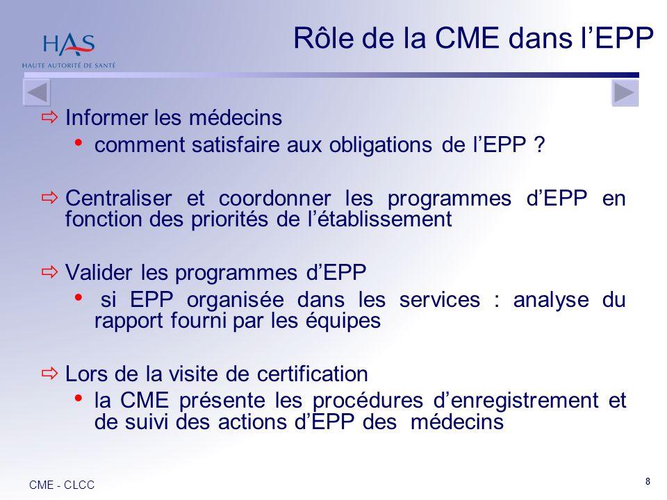 CME - CLCC 8 Informer les médecins comment satisfaire aux obligations de lEPP .