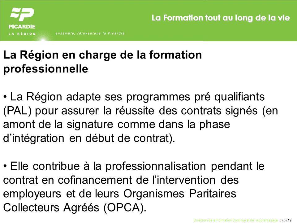 Direction de la Formation Continue et de lApprentissage page 19 La Formation tout au long de la vie La Région en charge de la formation professionnell