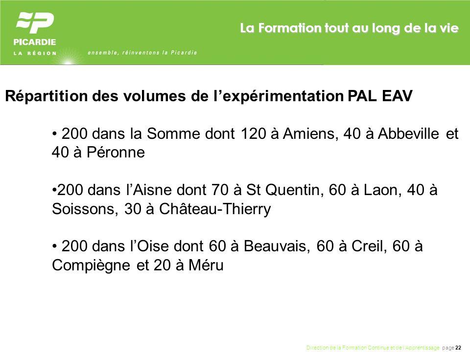 Direction de la Formation Continue et de lApprentissage page 22 La Formation tout au long de la vie Répartition des volumes de lexpérimentation PAL EA