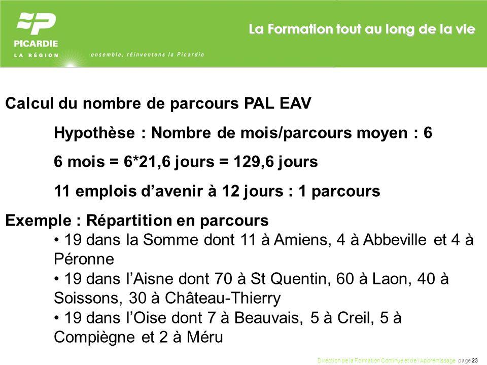 Direction de la Formation Continue et de lApprentissage page 23 La Formation tout au long de la vie Calcul du nombre de parcours PAL EAV Hypothèse : N