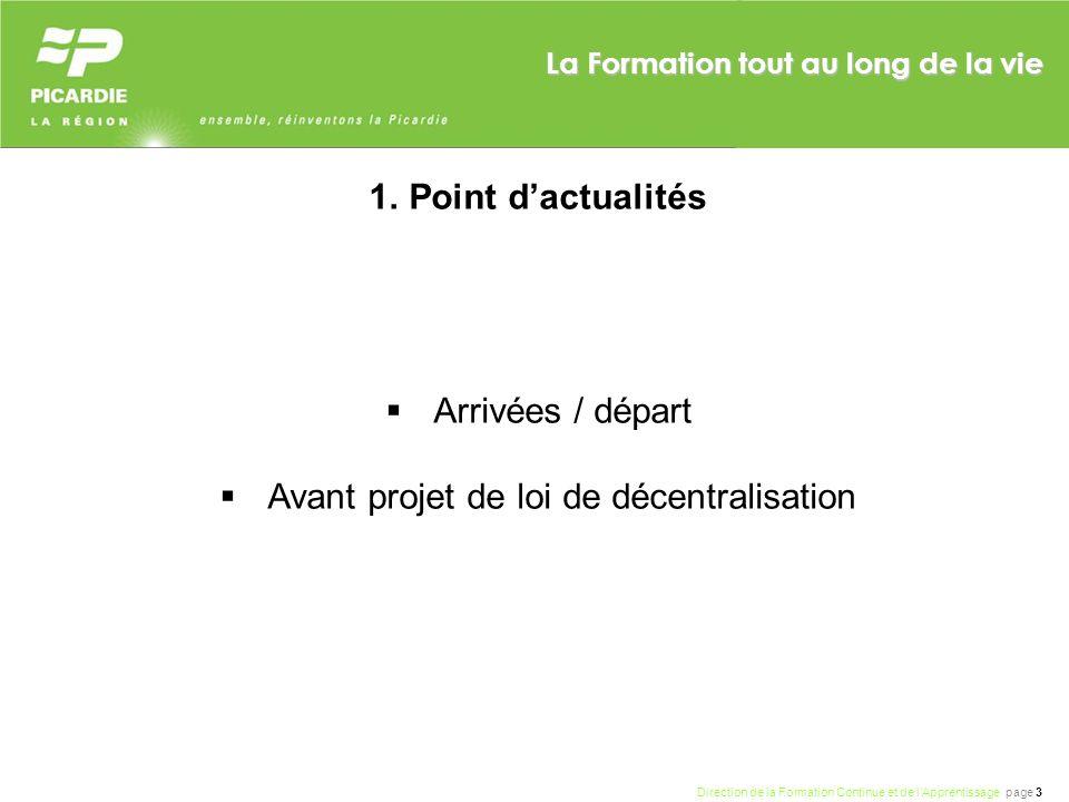 Direction de la Formation Continue et de lApprentissage page 3 La Formation tout au long de la vie 1.Point dactualités Arrivées / départ Avant projet