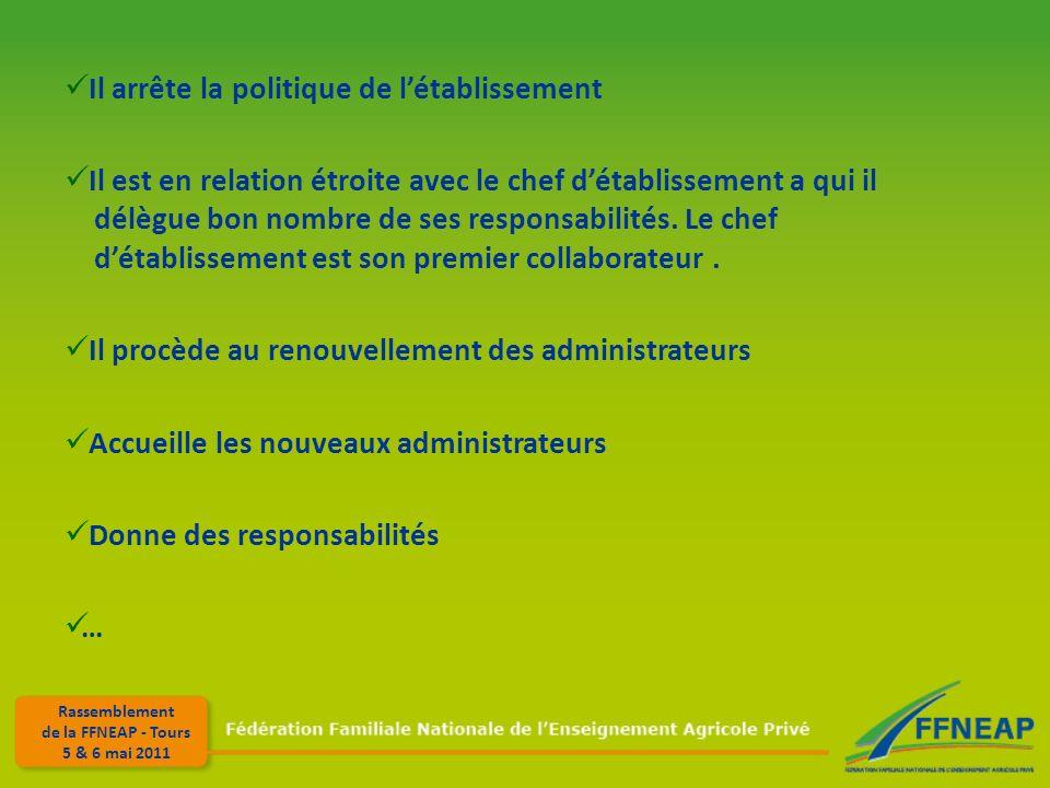 Rassemblement de la FFNEAP - Tours 5 & 6 mai 2011 Il arrête la politique de létablissement Il est en relation étroite avec le chef détablissement a qui il délègue bon nombre de ses responsabilités.