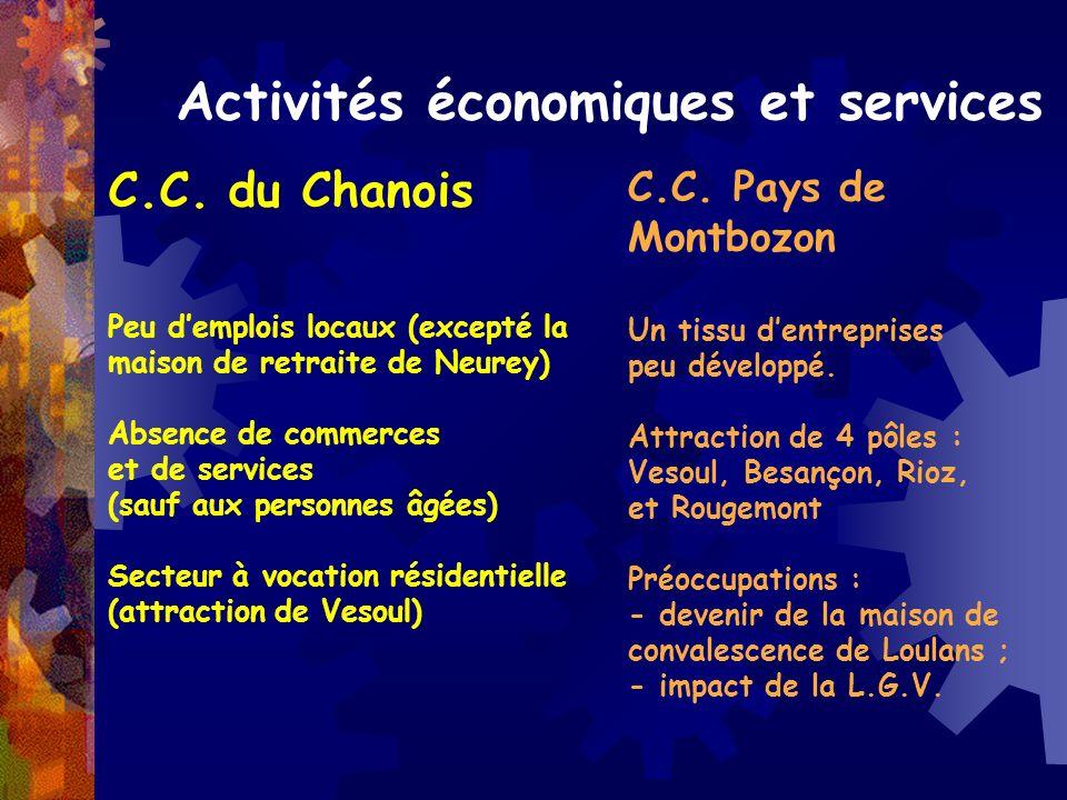 Activités économiques et services C.C. du Chanois Peu demplois locaux (excepté la maison de retraite de Neurey) Absence de commerces et de services (s