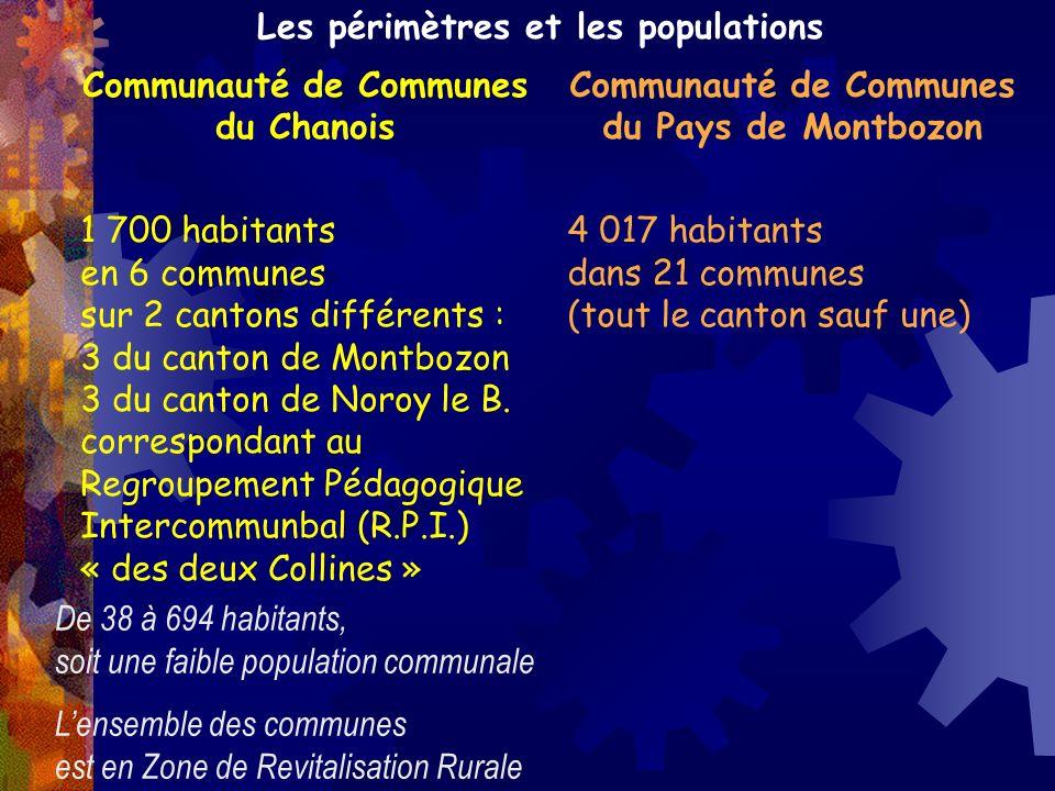 Communauté de Communes du Chanois Communauté de Communes du Pays de Montbozon 1 700 habitants en 6 communes sur 2 cantons différents : 3 du canton de