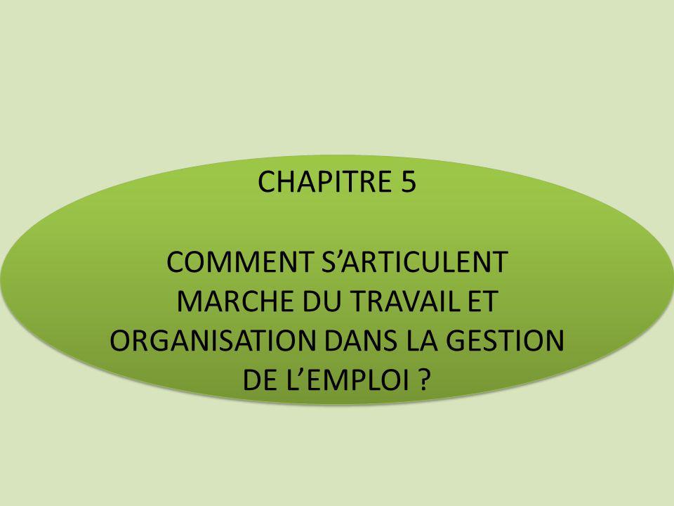 CHAPITRE 5 COMMENT SARTICULENT MARCHE DU TRAVAIL ET ORGANISATION DANS LA GESTION DE LEMPLOI ? CHAPITRE 5 COMMENT SARTICULENT MARCHE DU TRAVAIL ET ORGA