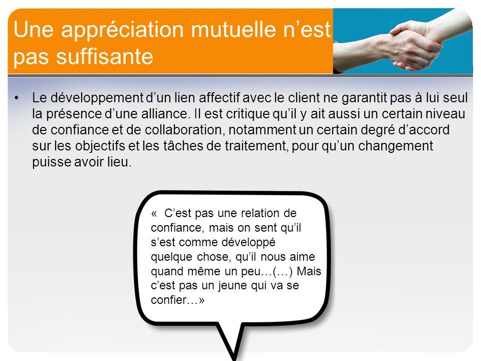 Une appréciation mutuelle nest pas suffisante Le développement dun lien affectif avec le client ne garantit pas à lui seul la présence dune alliance.