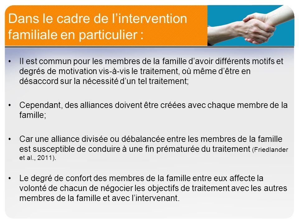 Dans le cadre de lintervention familiale en particulier : Il est commun pour les membres de la famille davoir différents motifs et degrés de motivatio