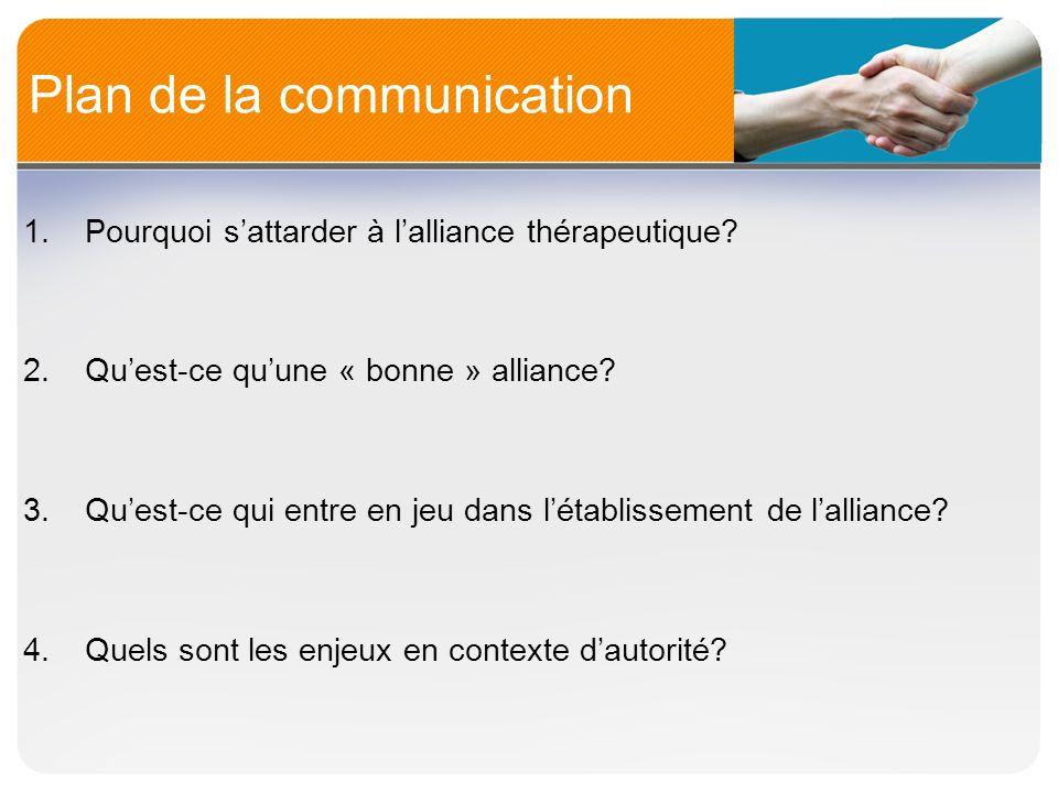Plan de la communication 1.Pourquoi sattarder à lalliance thérapeutique? 2.Quest-ce quune « bonne » alliance? 3.Quest-ce qui entre en jeu dans létabli
