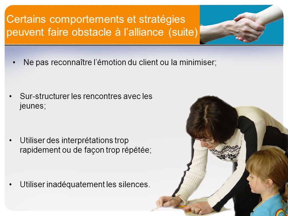 Certains comportements et stratégies peuvent faire obstacle à lalliance (suite) Sur-structurer les rencontres avec les jeunes; Utiliser des interpréta