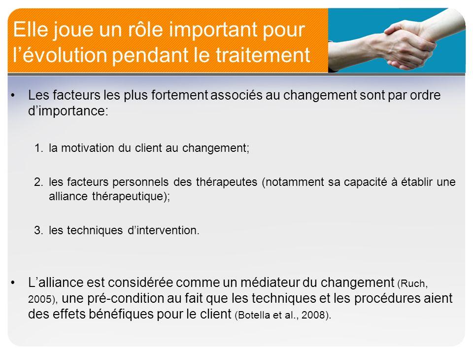 Elle a un impact sur la rétention En plus des changements chez la clientèle dans différents types de traitement, lalliance prédit bien la rétention dans le traitement.