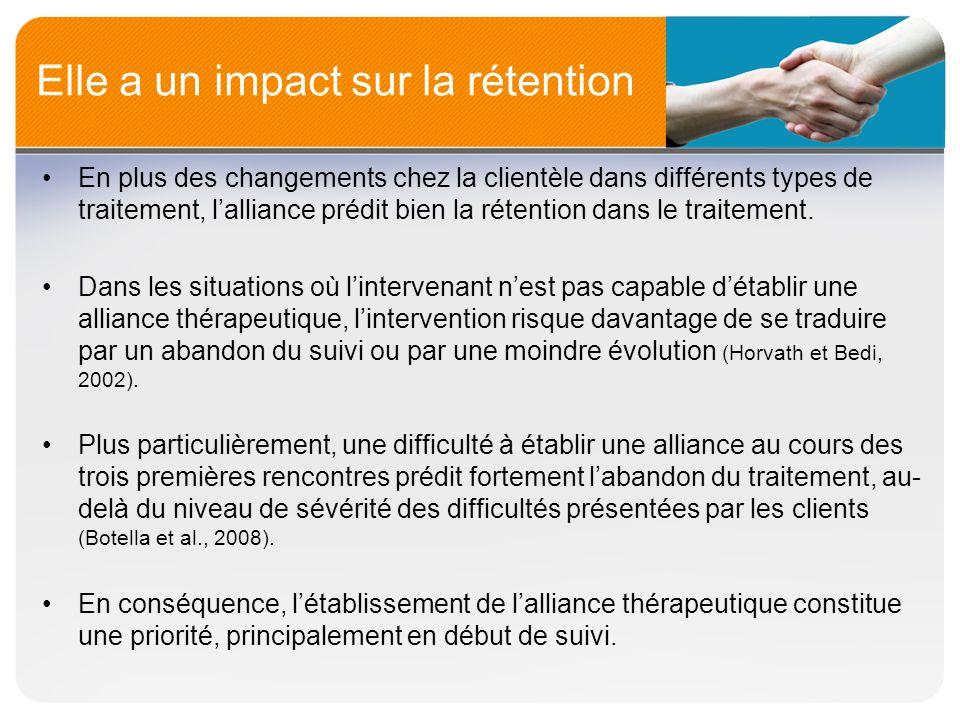 Elle a un impact sur la rétention En plus des changements chez la clientèle dans différents types de traitement, lalliance prédit bien la rétention da