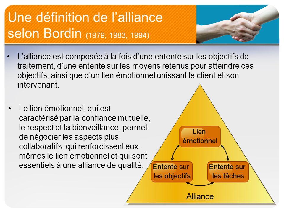 Une définition de lalliance selon Bordin (1979, 1983, 1994) Le lien émotionnel, qui est caractérisé par la confiance mutuelle, le respect et la bienve