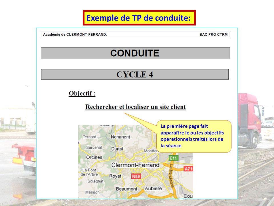 Bac Pro Réparation des Carrosseries Repère pour la formation Exemple de TP de conduite: La première page fait apparaître le ou les objectifs opération