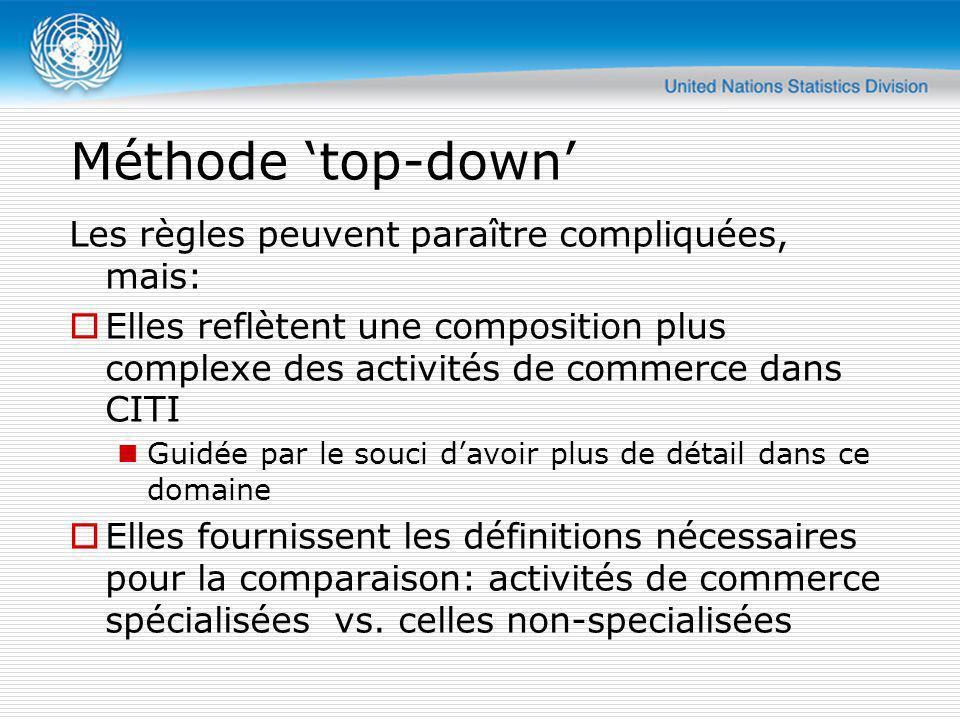 Méthode top-down Les règles peuvent paraître compliquées, mais: Elles reflètent une composition plus complexe des activités de commerce dans CITI Guid
