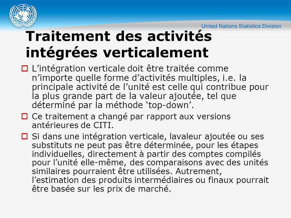 Traitement des activités intégrées verticalement Lintégration verticale doit être traitée comme nimporte quelle forme dactivités multiples, i.e. la pr