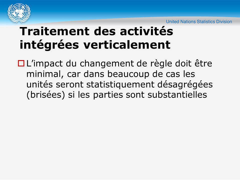 Traitement des activités intégrées verticalement Limpact du changement de règle doit être minimal, car dans beaucoup de cas les unités seront statisti