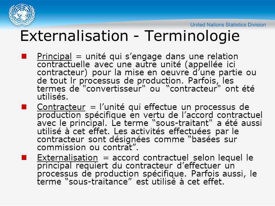 Externalisation - Terminologie Principal = unité qui sengage dans une relation contractuelle avec une autre unité (appellée ici contracteur) pour la m