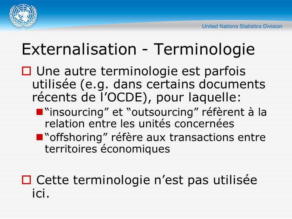 Externalisation - Terminologie Une autre terminologie est parfois utilisée (e.g. dans certains documents récents de lOCDE), pour laquelle: insourcing