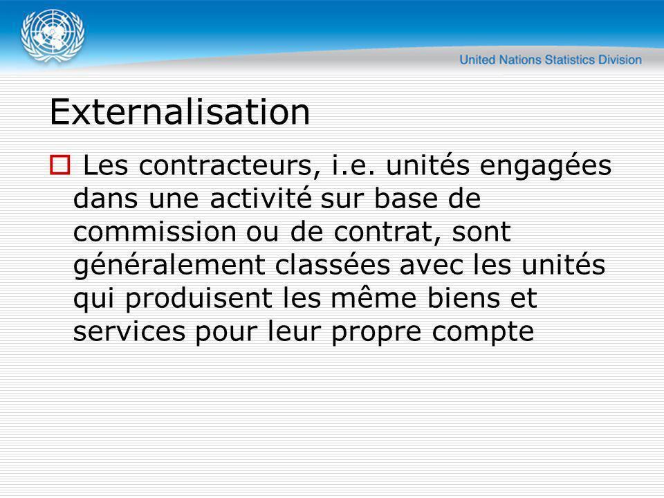 Externalisation Les contracteurs, i.e. unités engagées dans une activité sur base de commission ou de contrat, sont généralement classées avec les uni