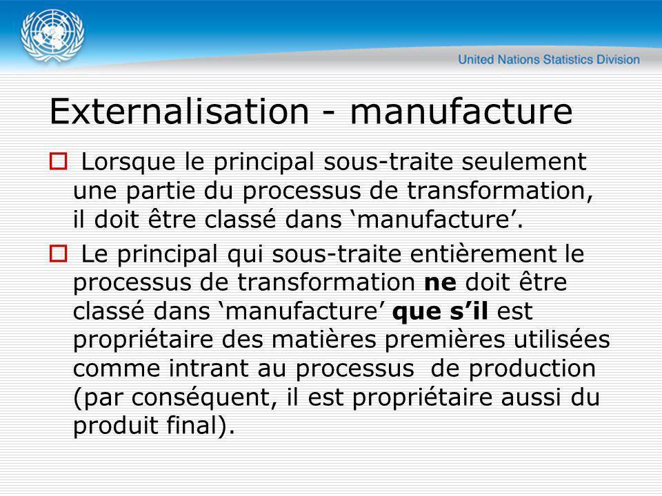 Externalisation - manufacture Lorsque le principal sous-traite seulement une partie du processus de transformation, il doit être classé dans manufactu