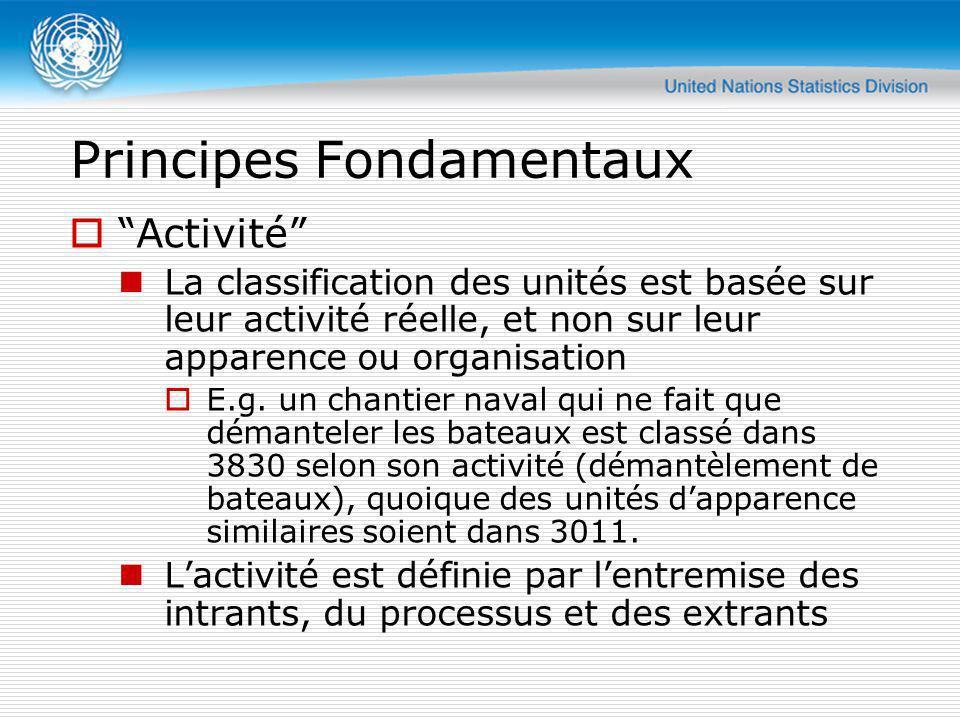 Principes Fondamentaux Activité La classification des unités est basée sur leur activité réelle, et non sur leur apparence ou organisation E.g. un cha