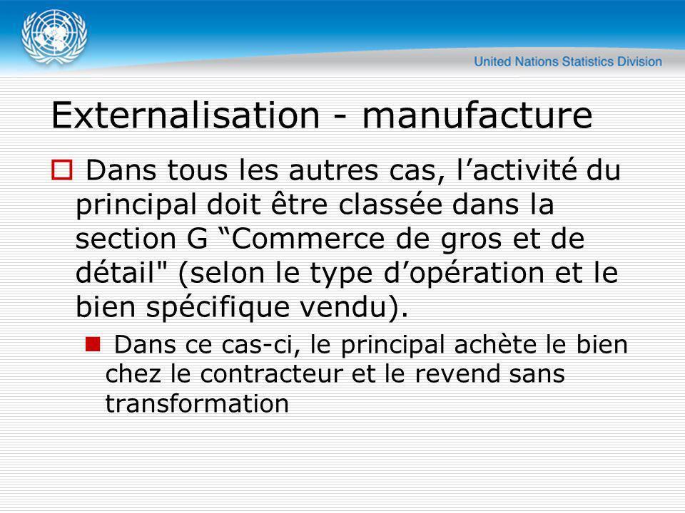 Externalisation - manufacture Dans tous les autres cas, lactivité du principal doit être classée dans la section G Commerce de gros et de détail