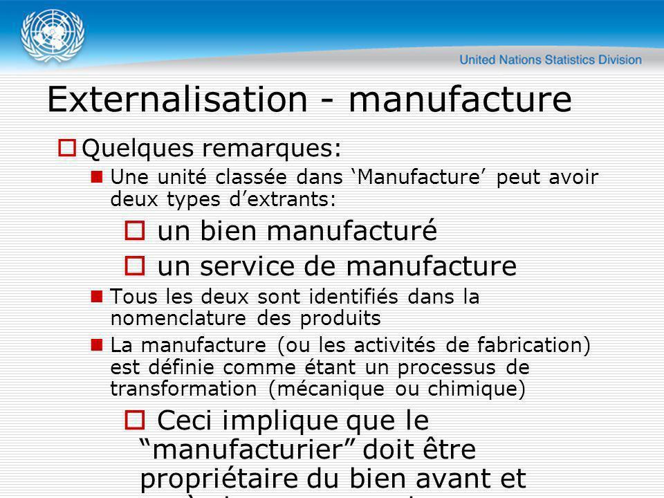 Externalisation - manufacture Quelques remarques: Une unité classée dans Manufacture peut avoir deux types dextrants: un bien manufacturé un service d
