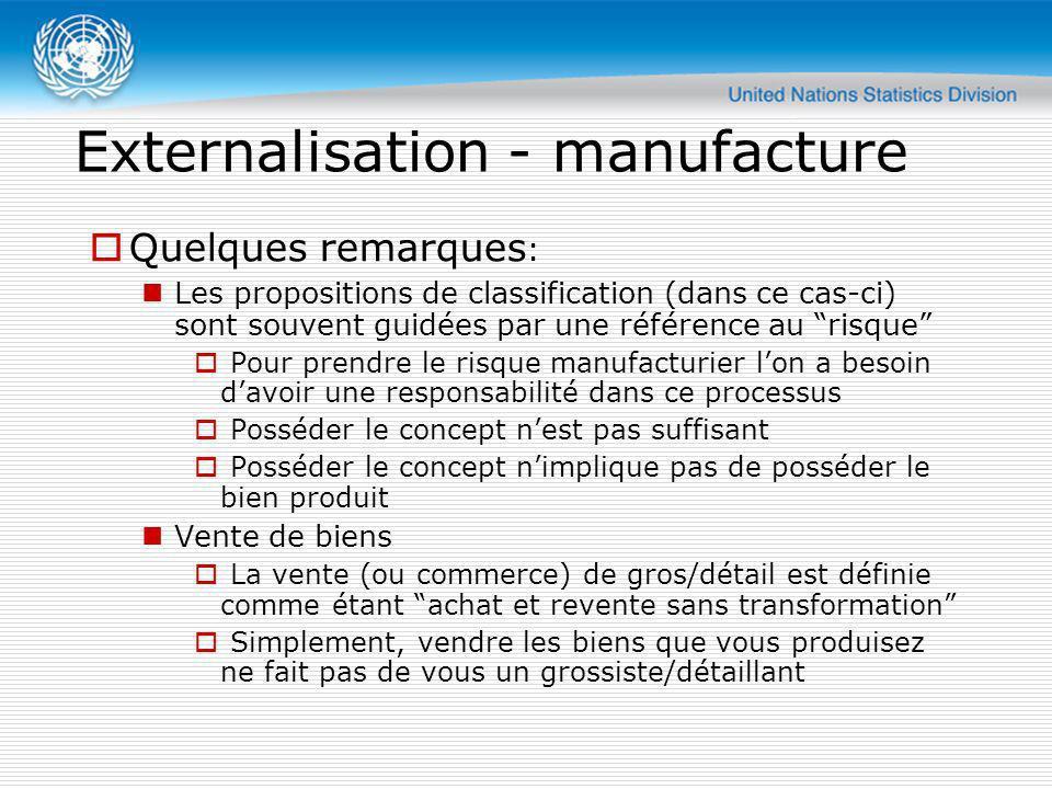 Externalisation - manufacture Quelques remarques : Les propositions de classification (dans ce cas-ci) sont souvent guidées par une référence au risqu