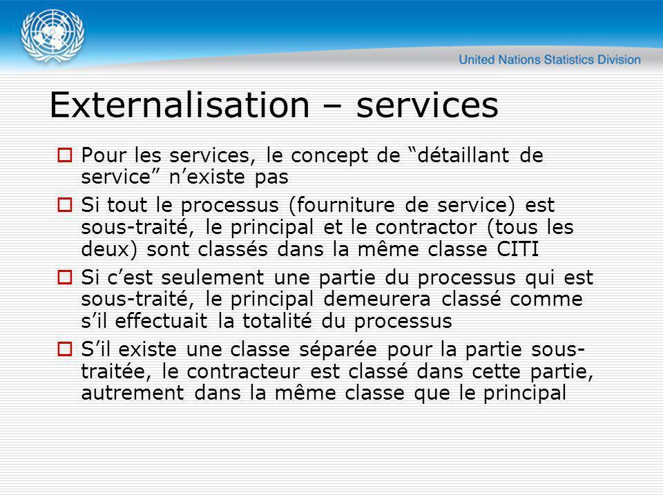 Externalisation – services Pour les services, le concept de détaillant de service nexiste pas Si tout le processus (fourniture de service) est sous-tr