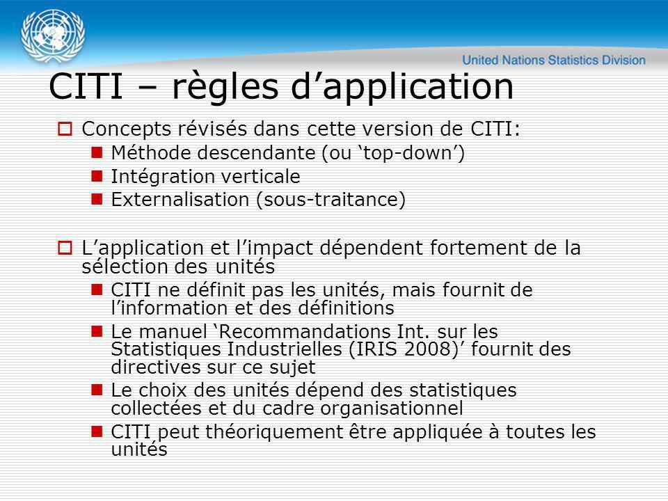 CITI – règles dapplication Concepts révisés dans cette version de CITI: Méthode descendante (ou top-down) Intégration verticale Externalisation (sous-