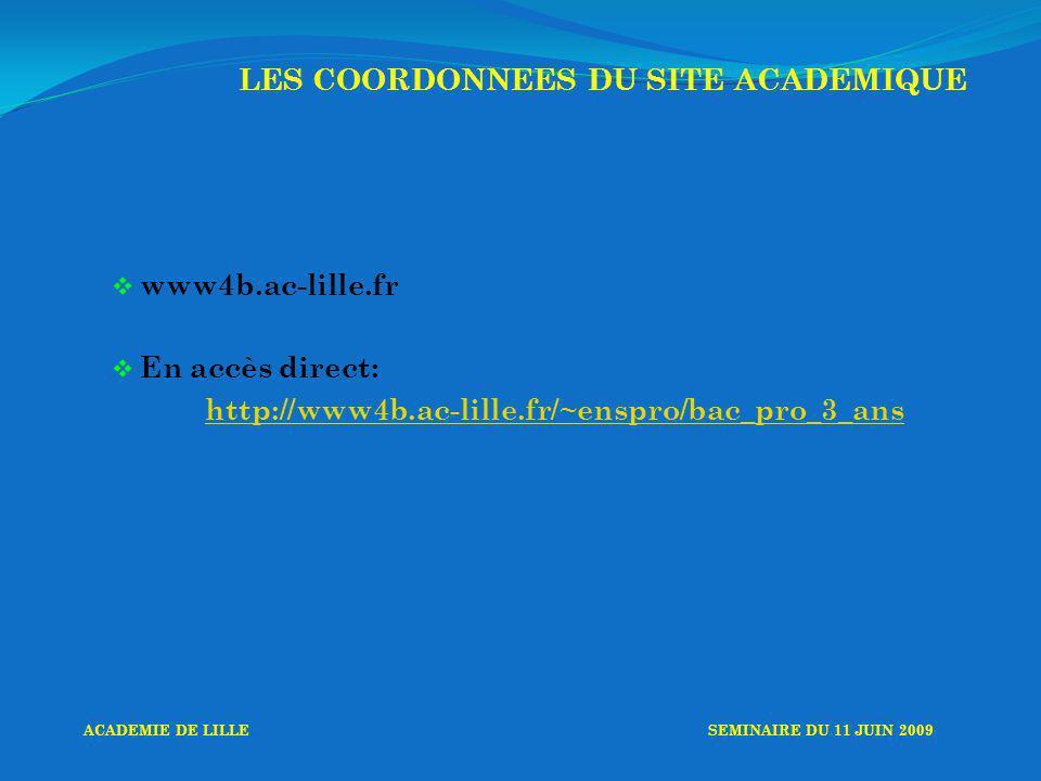 www4b.ac-lille.fr En accès direct: http://www4b.ac-lille.fr/~enspro/bac_pro_3_ans LES COORDONNEES DU SITE ACADEMIQUE ACADEMIE DE LILLESEMINAIRE DU 11 JUIN 2009