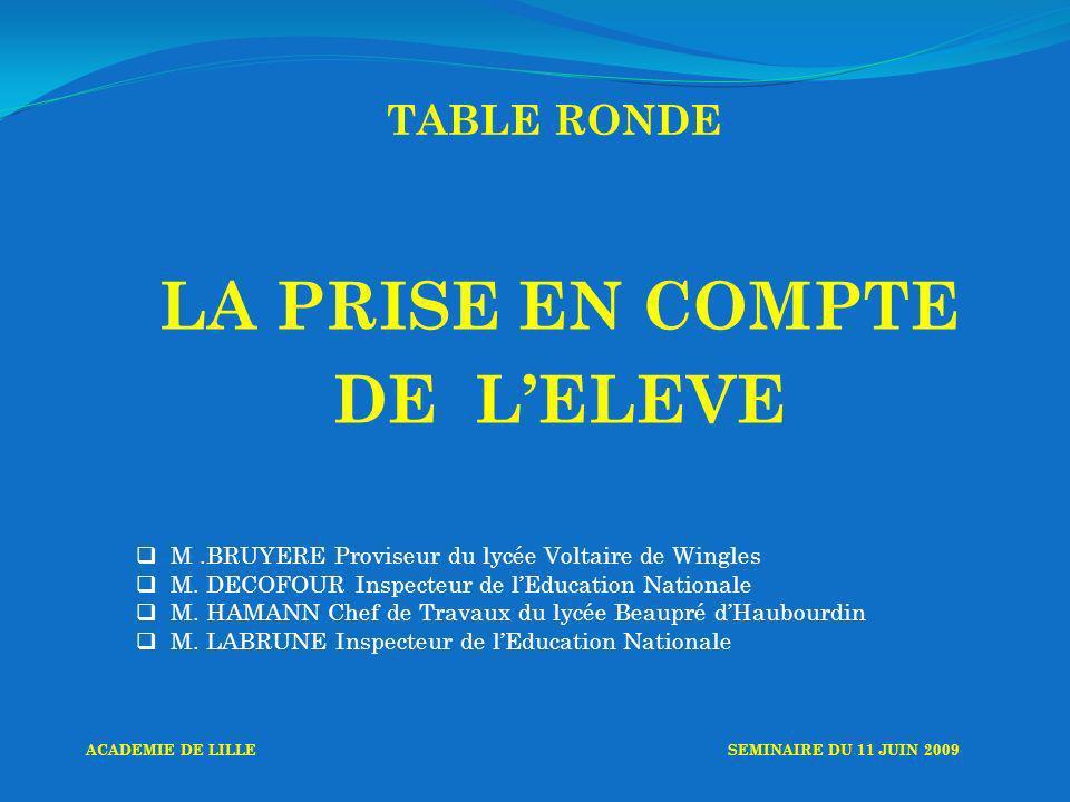 TABLE RONDE LA PRISE EN COMPTE DE LELEVE M.BRUYERE Proviseur du lycée Voltaire de Wingles M.