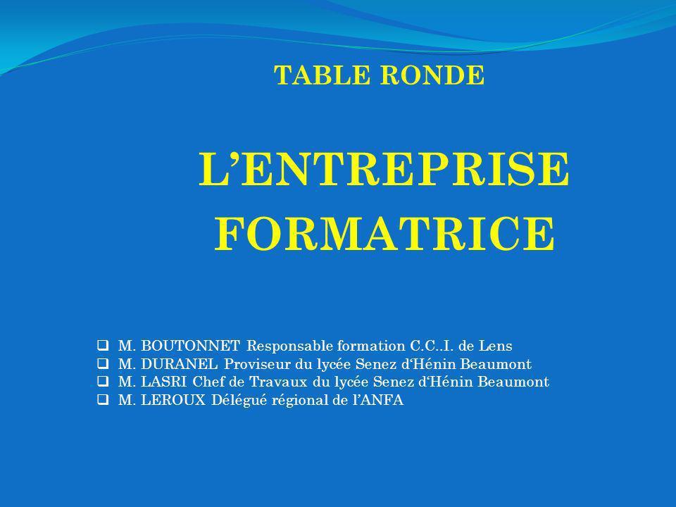 TABLE RONDE LENTREPRISE FORMATRICE M. BOUTONNET Responsable formation C.C..I. de Lens M. DURANEL Proviseur du lycée Senez dHénin Beaumont M. LASRI Che