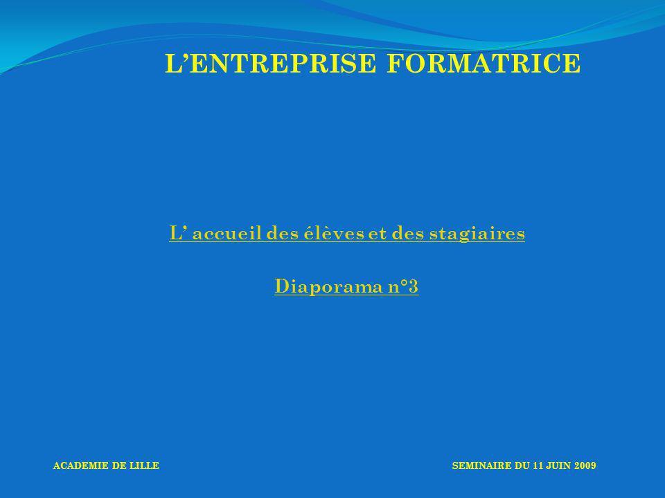 LENTREPRISE FORMATRICE L accueil des élèves et des stagiaires Diaporama n°3 ACADEMIE DE LILLESEMINAIRE DU 11 JUIN 2009
