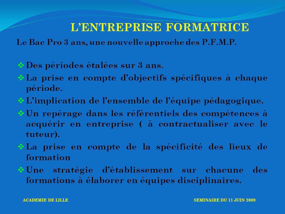 LENTREPRISE FORMATRICE Le Bac Pro 3 ans, une nouvelle approche des P.F.M.P.