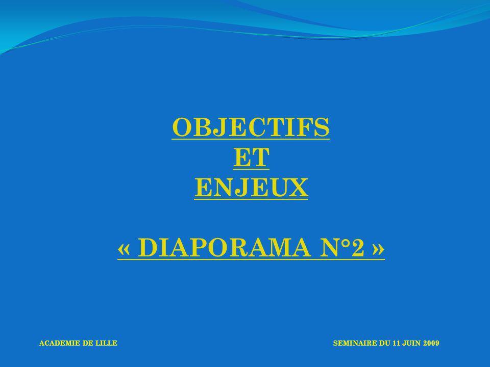 OBJECTIFS ET ENJEUX « DIAPORAMA N°2 » ACADEMIE DE LILLESEMINAIRE DU 11 JUIN 2009
