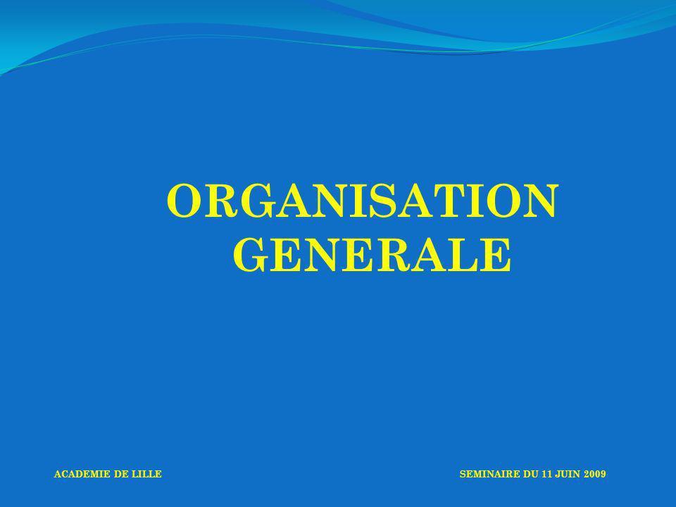 ORGANISATION GENERALE ACADEMIE DE LILLESEMINAIRE DU 11 JUIN 2009