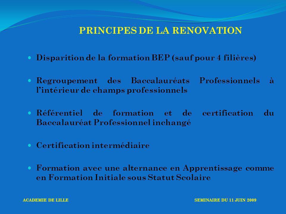 PRINCIPES DE LA RENOVATION Disparition de la formation BEP (sauf pour 4 filières) Regroupement des Baccalauréats Professionnels à lintérieur de champs professionnels Référentiel de formation et de certification du Baccalauréat Professionnel inchangé Certification intermédiaire Formation avec une alternance en Apprentissage comme en Formation Initiale sous Statut Scolaire ACADEMIE DE LILLESEMINAIRE DU 11 JUIN 2009