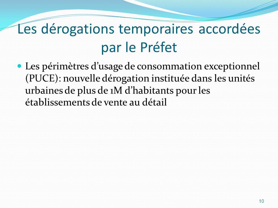 Les dérogations temporaires accordées par le Préfet Les périmètres dusage de consommation exceptionnel (PUCE): nouvelle dérogation instituée dans les