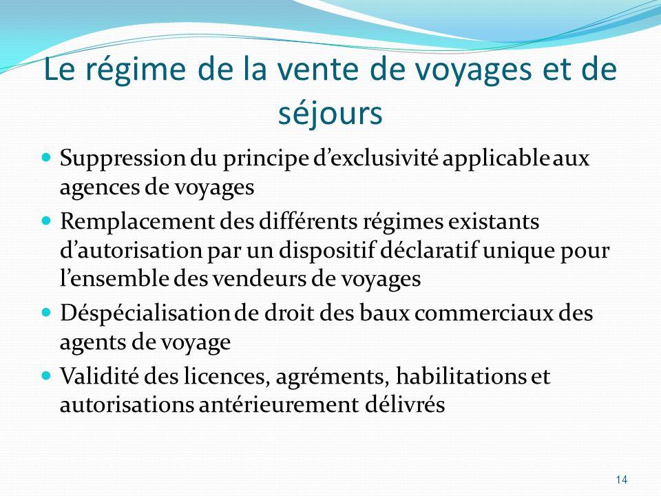Le régime de la vente de voyages et de séjours Suppression du principe dexclusivité applicable aux agences de voyages Remplacement des différents régi